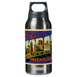 Greetings from Detroit Michigan Vintage Post Card Insulated Water Bottle