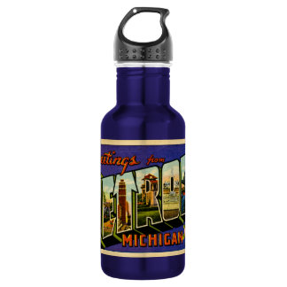 Greetings from Detroit Michigan Vintage Post Card Water Bottle