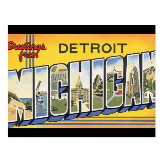 Greetings from Detroit Michigan_Vintage Travel Postcard