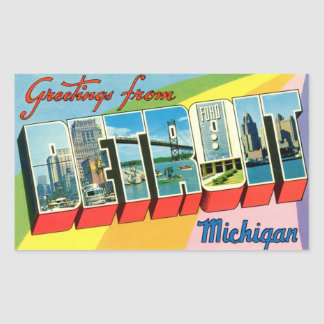 Greetings from Detroit Sticker! Rectangular Sticker
