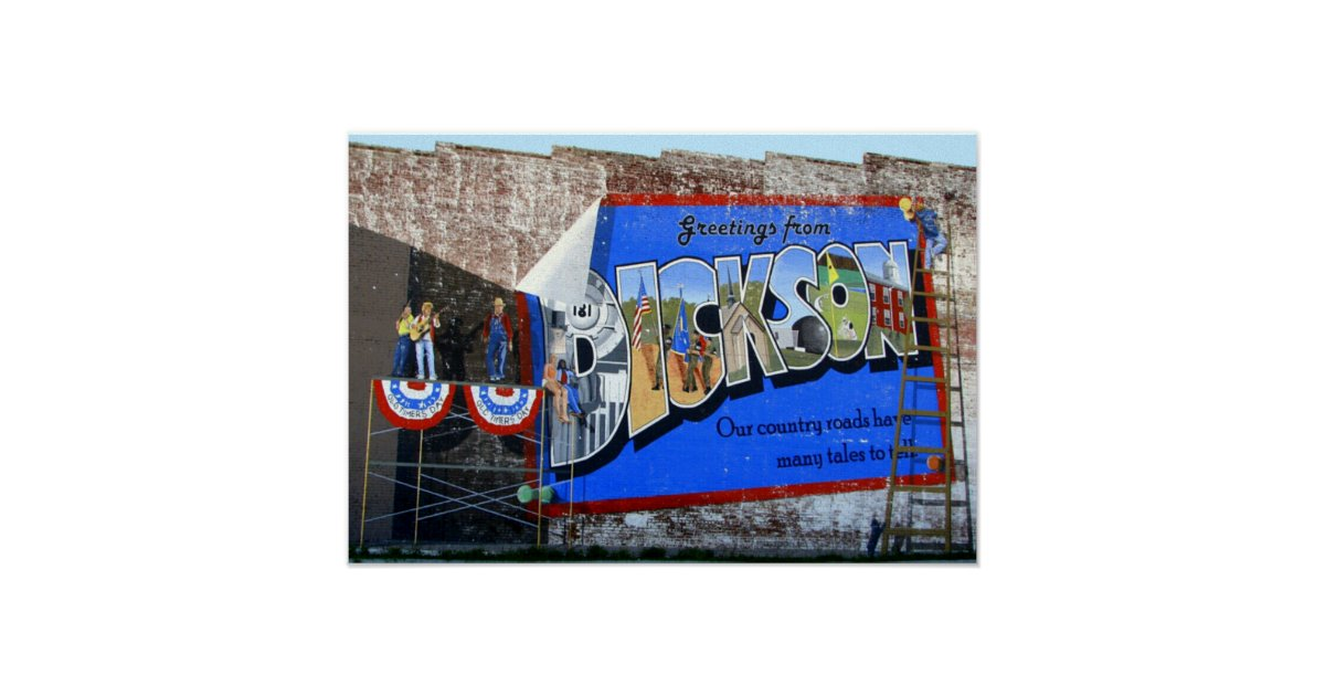 Greetings from dickson county tennessee mural poster for Poster mural 4 murs