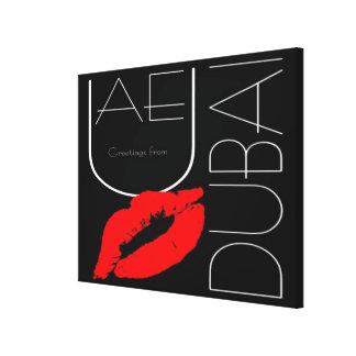 Greetings from Dubai UAE Red Lipstick Kiss Canvas Print
