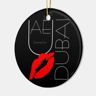 Greetings from Dubai UAE Red Lipstick Kiss Ceramic Ornament