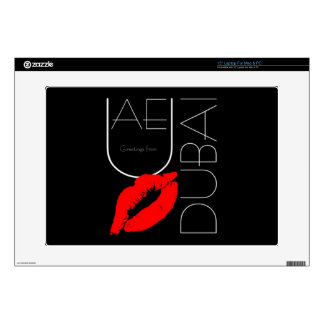 "Greetings from Dubai UAE Red Lipstick Kiss Decal For 15"" Laptop"