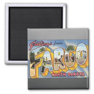 Greetings From Fargo North Dakota, Vintage 2 Inch Square Magnet