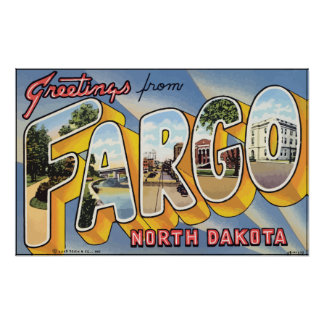 Greetings From Fargo North Dakota, Vintage Poster