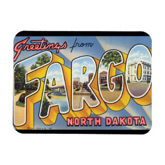 Greetings from Fargo North Dakota_Vintage Travel Rectangular Photo Magnet