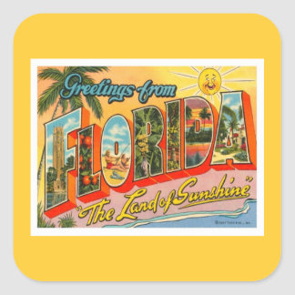 Greetings From Florida Square Sticker