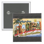 """Greetings From Florida """"The Land Of Sunshine"""", Vin Pinback Buttons"""