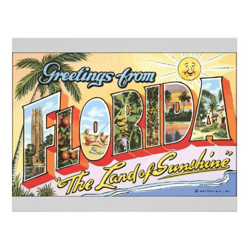 """Greetings From Florida """"The Land Of Sunshine"""", Vin Flyer Design"""