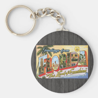 """Greetings From Florida """"The Land Of Sunshine"""", Vin Keychain"""