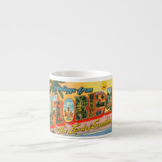 Greetings From Florida Vintage Postcard 6 Oz Ceramic Espresso Cup