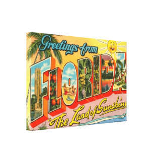 Greetings From Florida Vintage Postcard Canvas Print