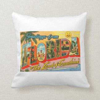 Greetings From Florida Vintage Postcard Throw Pillow