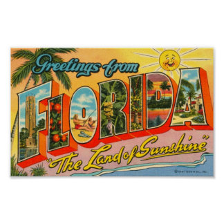 Greetings From Florida Vintage Postcard Poster