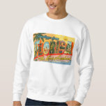 Greetings From Florida Vintage Postcard Pullover Sweatshirts