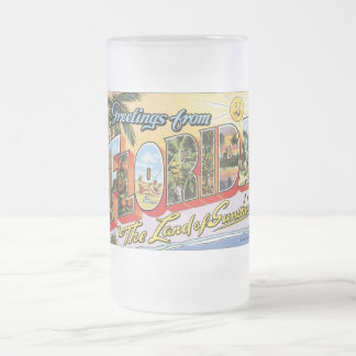 Greetings from Florida - Vintage Travel Frosted Glass Beer Mug