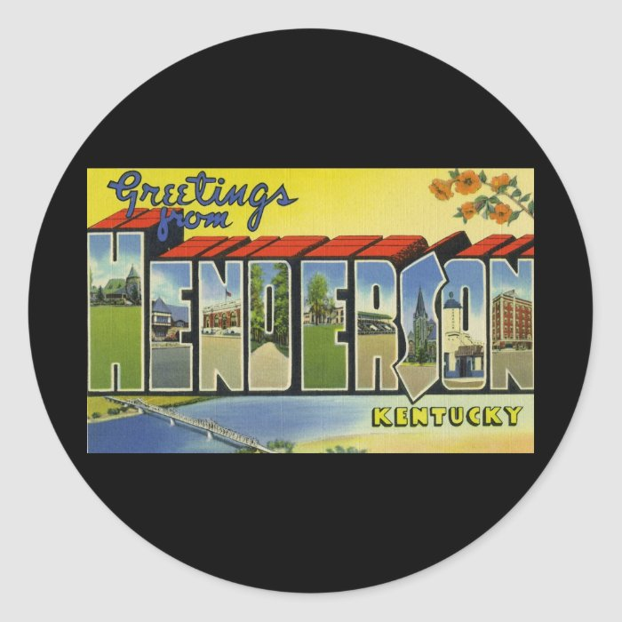 Greetings from Henderson Kentucky Classic Round Sticker
