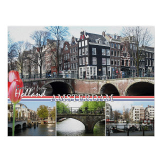 Greetings from Holland - Amsterdam Poster Print