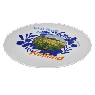 Greetings from Holland Vintage Delft Blue Pattern Cutting Board