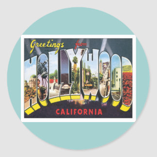 Greetings From Hollywood California Classic Round Sticker