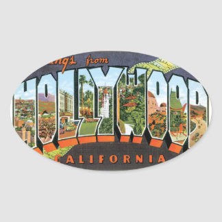 Greetings From Hollywood Oval Sticker