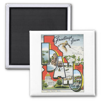 Greetings From Idaho 2 Inch Square Magnet
