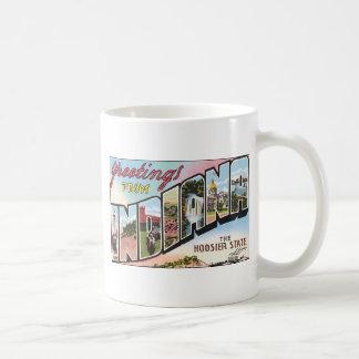 Greetings From Indiana The Hoosier State, Vintage Mug