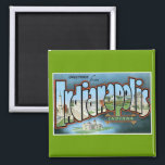 """Greetings from Indianapolis, Indiana! Magnet<br><div class=""""desc"""">Remember those long road trips when you were a kid? Your little brother wouldn&#39;t stop asking,  &quot;Are we there yet?&quot;. Relive your childhood with this great classic post card from Indianapolis,  Indiana. Retro and awesome,  it features the world-famous landmarks of the Racing Capital of the World!</div>"""