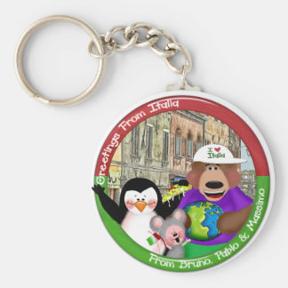 Greetings From Italia Basic Round Button Keychain