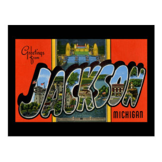 Greetings from Jackson Michigan Postcard