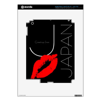 Greetings from Japan Red Lipstick Kiss Black Decal For iPad 3