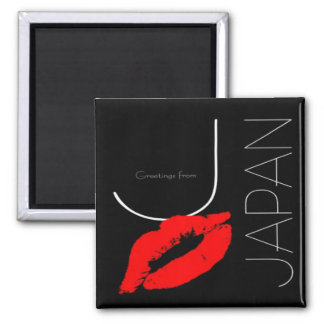 Greetings from Japan Red Lipstick Kiss Black Magnet