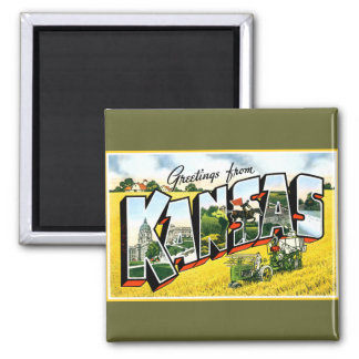 Greetings from Kansas 2 Inch Square Magnet