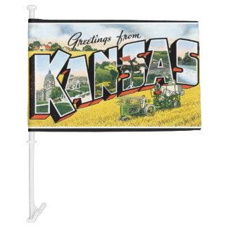 Greetings from Kansas Car Flag