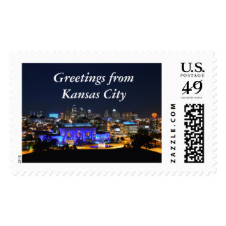 Greetings from Kansas City, Union Station in Blue Postage