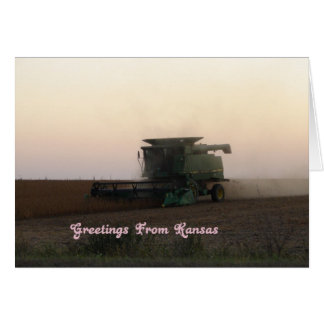 Greetings From Kansas, Combine at Sunset Card