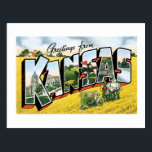 """Greetings from Kansas! Vintage Postcard<br><div class=""""desc"""">Remember those long road trips when you were a kid? Your little brother wouldn&#39;t stop asking,  &quot;Are we there yet?&quot;. Relive your childhood with this great classic post card from Kansas. Retro and awesome,  it features the world-famous landmarks of The Sunflower State.</div>"""