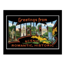 Greetings from Kentucky Historic Romantic Vintage Postcard