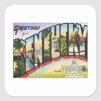 Greetings From Kentucky Square Sticker