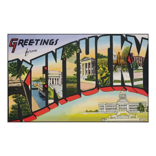 Greetings From Kentucky, Vintage Poster