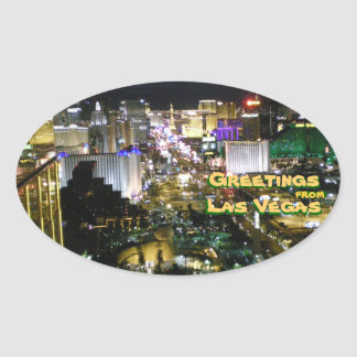 Greetings from Las Vegas Nevada Oval Sticker