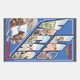 Greetings From Las Vegas Nevada, Vintage Rectangular Sticker