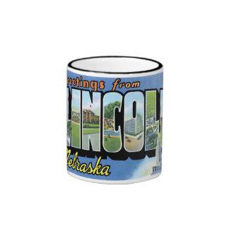 Greetings from Lincoln, Nebraska! Ringer Coffee Mug