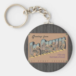 Greetings From Los Angeles, Vintage Basic Round Button Keychain