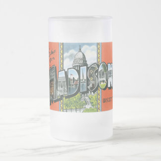 Greetings from Madison, Wisconsin! 16 Oz Frosted Glass Beer Mug