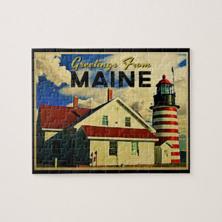 Greetings From Maine Lighthouse Jigsaw Puzzle
