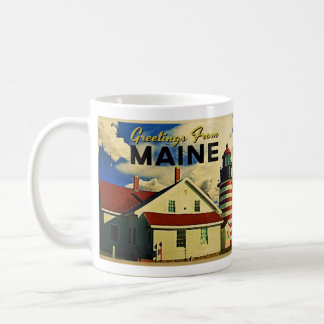 Greetings From Maine Lighthouse Classic White Coffee Mug