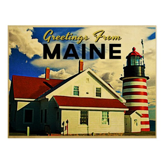 Greetings From Maine Lighthouse Postcard