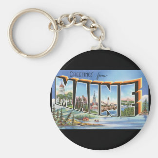 Greetings from Maine_Vintage Travel Poster Artwor Keychain